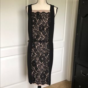 Black label dress with black lace over nude panel